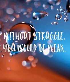 Poster: Without struggle, you would be weak.