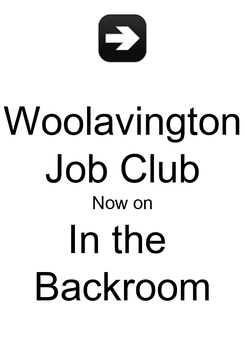 Poster: Woolavington Job Club Now on In the  Backroom