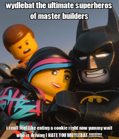 Poster: wydlebat the ultimate superheros of master builders i reall feel like eating a cookie right now yummy wait who is driving I HATE YOU WDYLEBAT !!!!!!!!!
