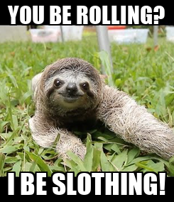 Poster: YOU BE ROLLING? I BE SLOTHING!