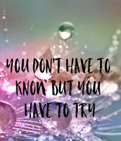 Poster: You don't have to  know but you  have to try