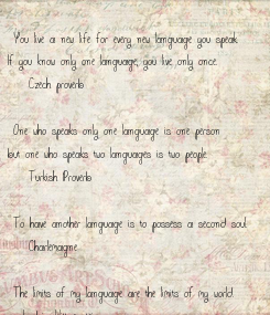 """Poster: """"You live a new life for every new language you speak.   If you know only one language, you live only once."""" - Czech proverb  """"One who speaks only one language is"""