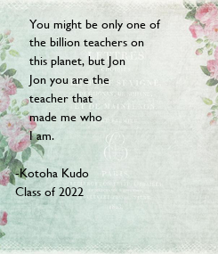 Poster:     You might be only one of 