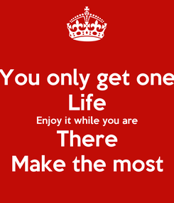 Poster: You only get one Life Enjoy it while you are There Make the most