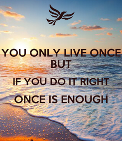 Poster: YOU ONLY LIVE ONCE BUT IF YOU DO IT RIGHT ONCE IS ENOUGH