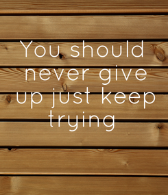 Poster: You should  never give  up just keep  trying