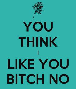 Poster: YOU THINK I LIKE YOU BITCH NO