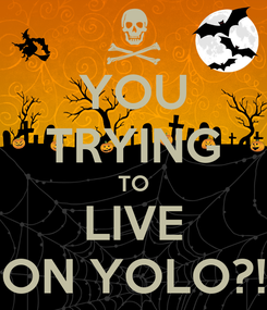 Poster: YOU TRYING TO LIVE ON YOLO?!