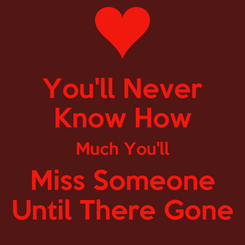 Poster: You'll Never Know How Much You'll Miss Someone Until There Gone