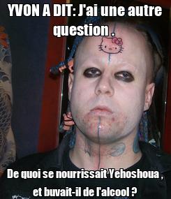 Poster: YVON A DIT: J'ai une autre question .  De quoi se nourrissait Yehoshoua , et buvait-il de l'alcool ?