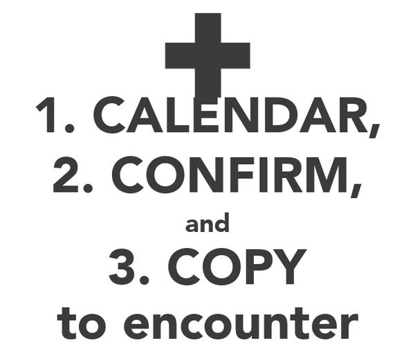 1. CALENDAR, 2. CONFIRM, and 3. COPY to encounter