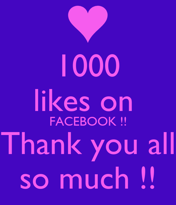1000 likes on  FACEBOOK !! Thank you all so much !!