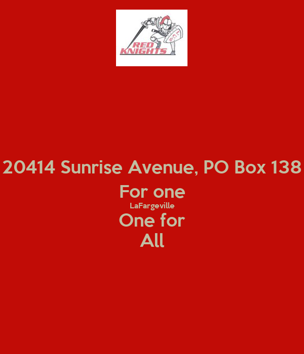 20414 Sunrise Avenue, PO Box 138 For one LaFargeville One for All