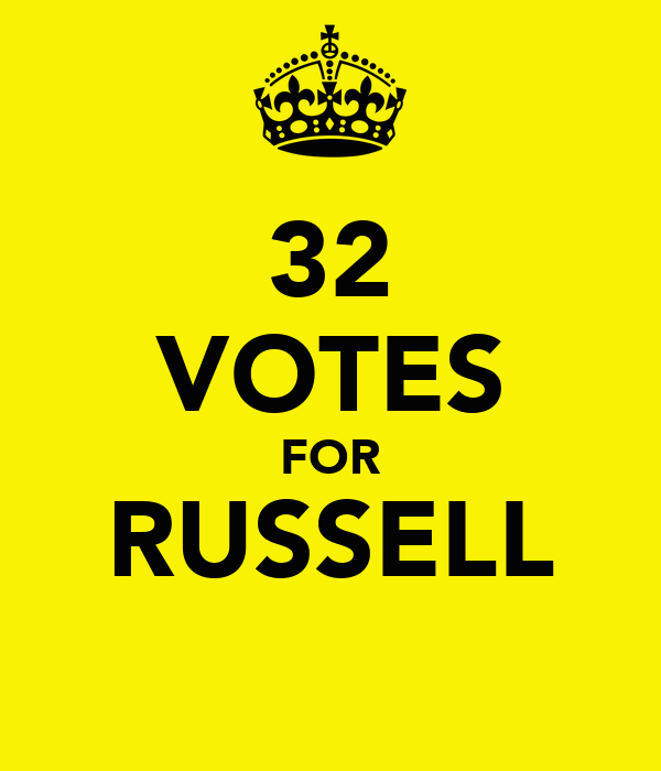 32 VOTES FOR RUSSELL