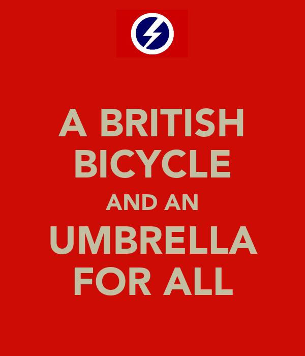 A BRITISH BICYCLE AND AN UMBRELLA FOR ALL