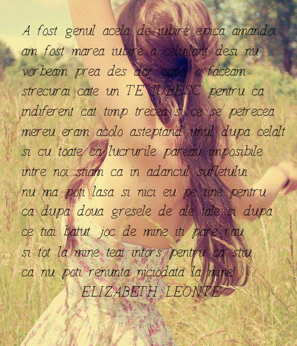 -A fost genul acela de iubire epica amandoi  am fost marea iubire a celuilant desi nu  vorbeam prea des dar cand o faceam strecurai cate un TE IUBESC pentru ca indiferent cat