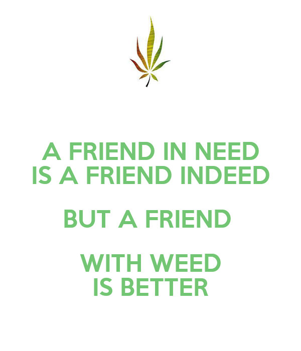 A FRIEND IN NEED IS A FRIEND INDEED BUT A FRIEND  WITH WEED IS BETTER