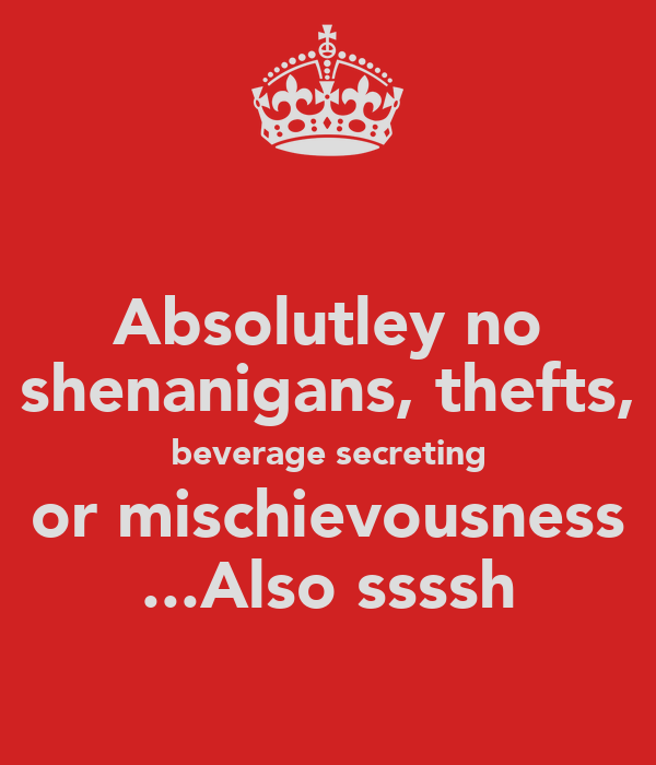 Absolutley no shenanigans, thefts, beverage secreting or mischievousness ...Also ssssh