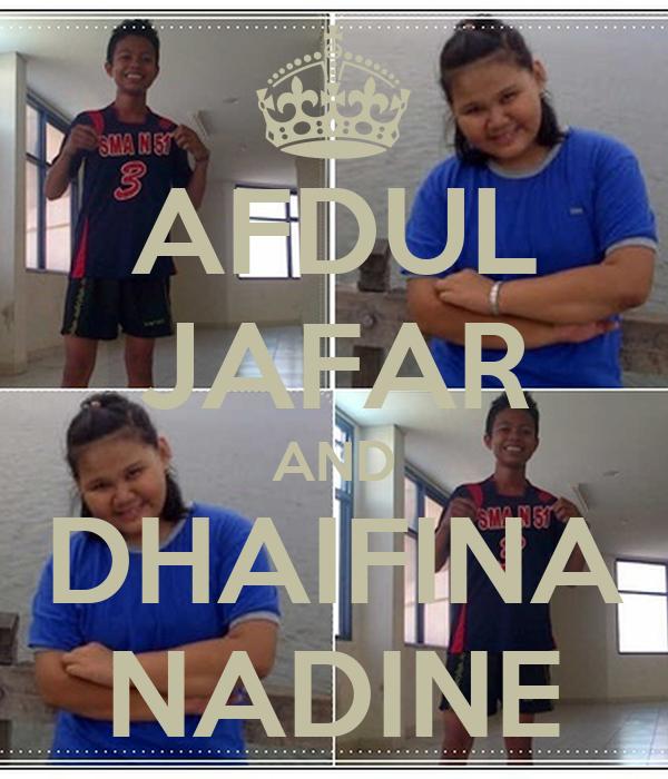AFDUL JAFAR AND DHAIFINA NADINE
