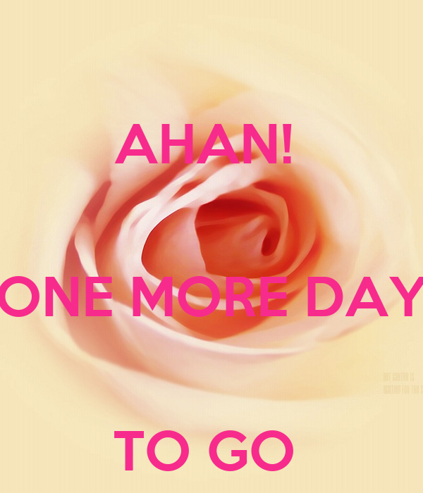 AHAN!   ONE MORE DAY  TO GO
