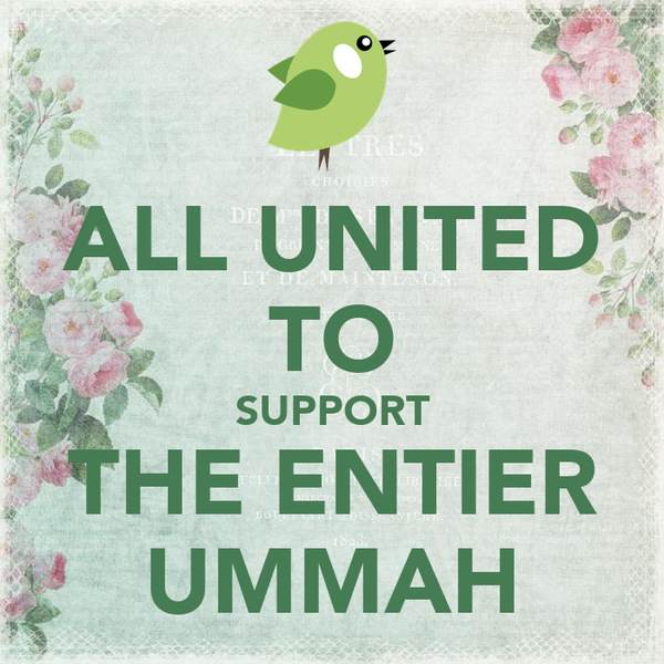 ALL UNITED TO SUPPORT THE ENTIER UMMAH