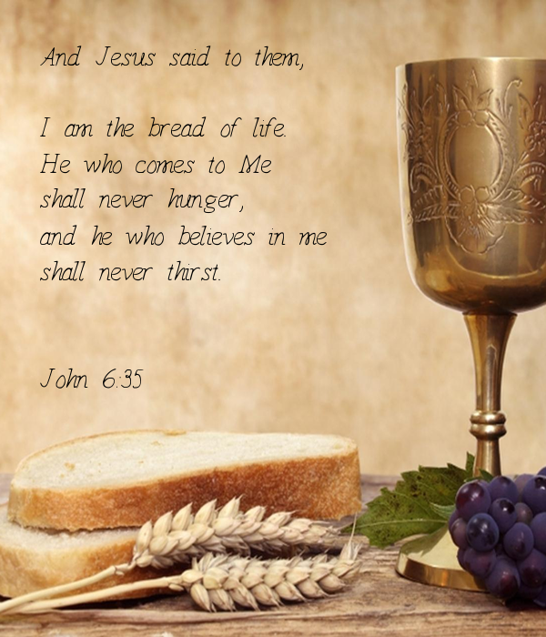 And Jesus said to them,  I am the bread of life. He who comes to Me shall never hunger, and he who believes in me shall never thirst.  John 6:35