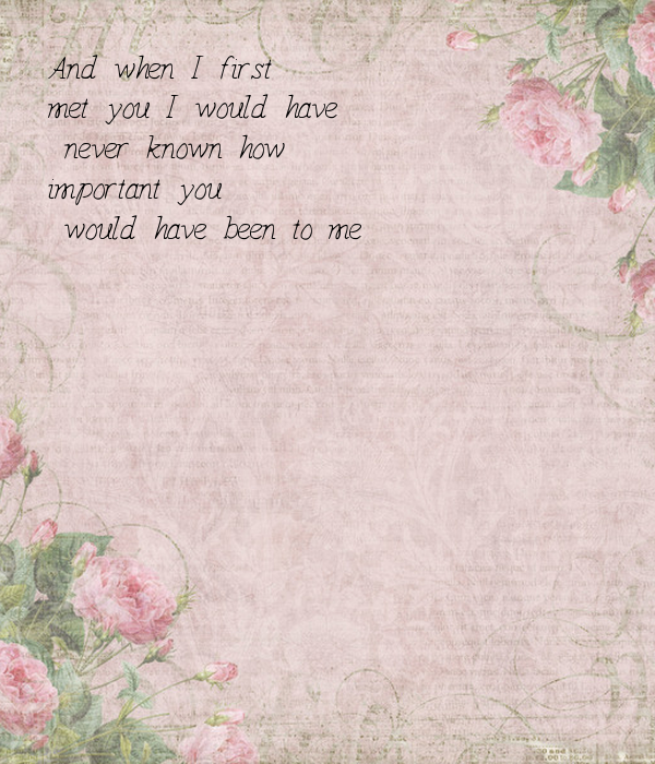 And when I first  met you I would have  never known how  important you  would have been to me