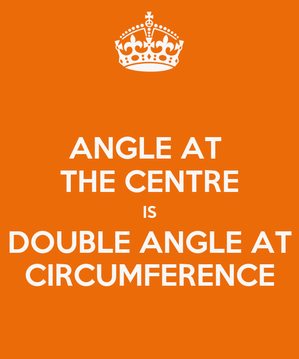 ANGLE AT  THE CENTRE IS DOUBLE ANGLE AT CIRCUMFERENCE