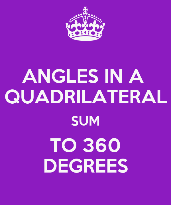 ANGLES IN A  QUADRILATERAL SUM TO 360 DEGREES