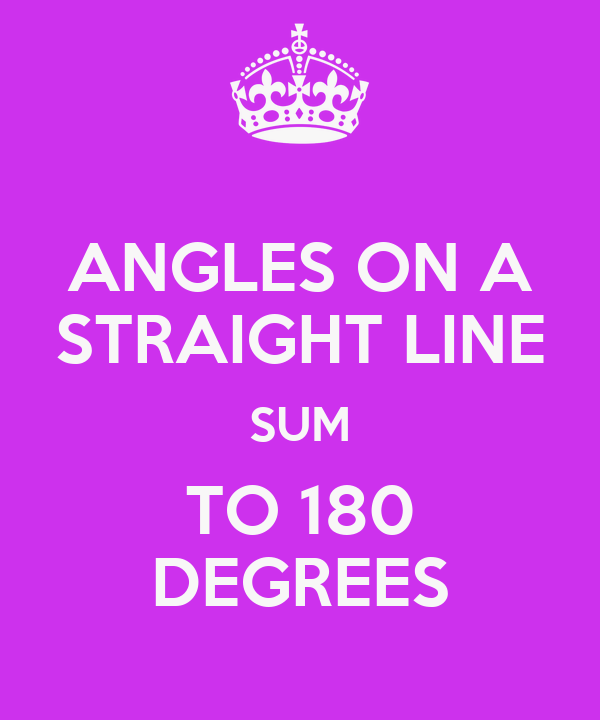 ANGLES ON A STRAIGHT LINE SUM TO 180 DEGREES