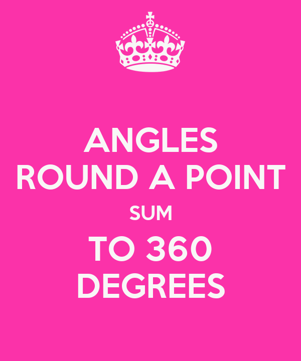 ANGLES ROUND A POINT SUM TO 360 DEGREES