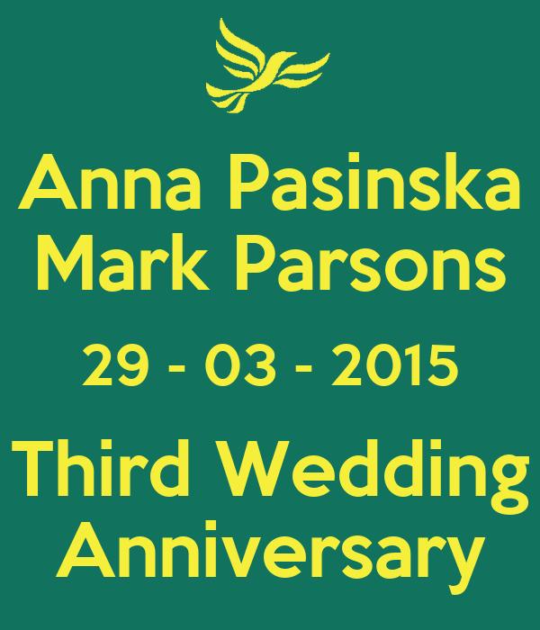 Anna Pasinska Mark Parsons 29 - 03 - 2015 Third Wedding Anniversary