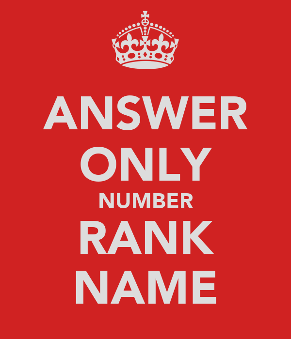 ANSWER ONLY NUMBER RANK NAME
