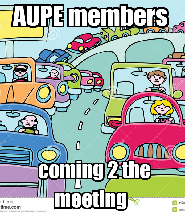 AUPE members     coming 2 the meeting