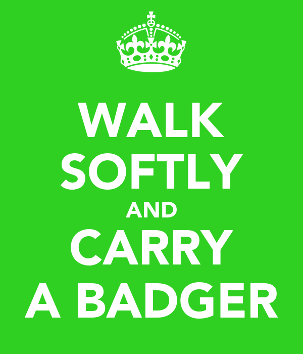 WALK SOFTLY AND CARRY A BADGER