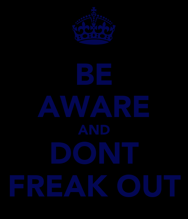 BE AWARE AND DONT FREAK OUT
