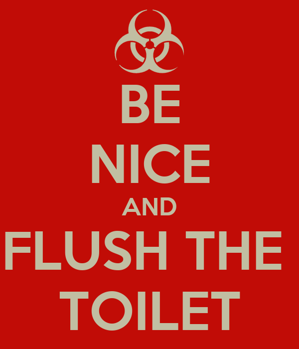 BE NICE AND FLUSH THE  TOILET
