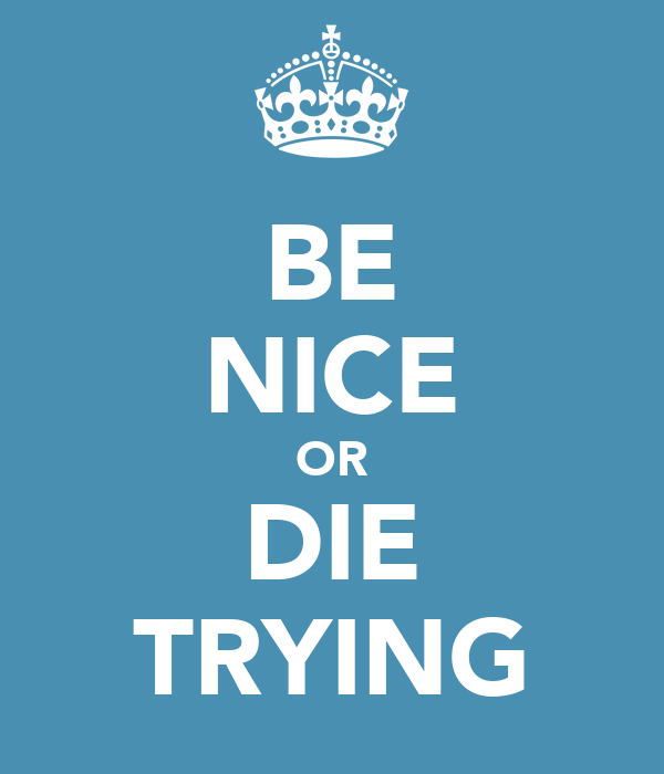 BE NICE OR DIE TRYING