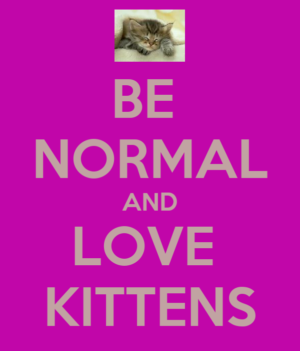 BE  NORMAL AND LOVE  KITTENS