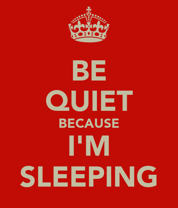 BE QUIET BECAUSE I'M SLEEPING