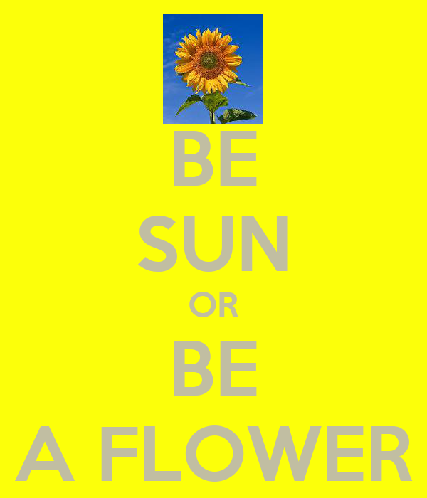 BE SUN OR BE A FLOWER