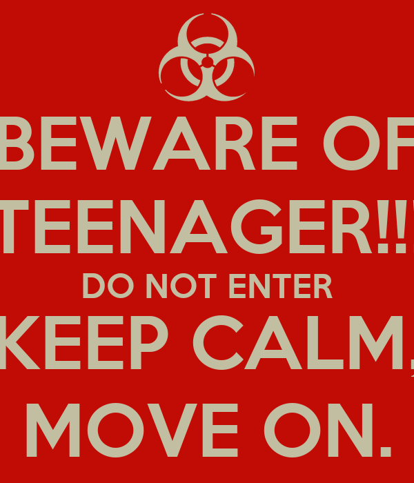 BEWARE OF TEENAGER!!! DO NOT ENTER KEEP CALM, MOVE ON.
