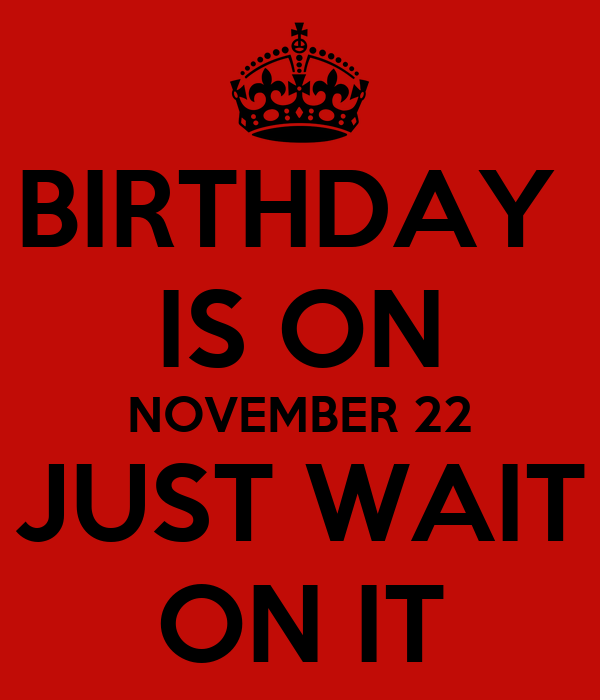 BIRTHDAY  IS ON NOVEMBER 22 JUST WAIT ON IT