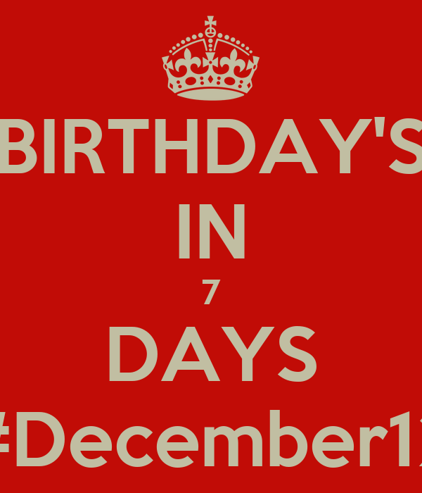BIRTHDAY'S IN 7 DAYS #December12