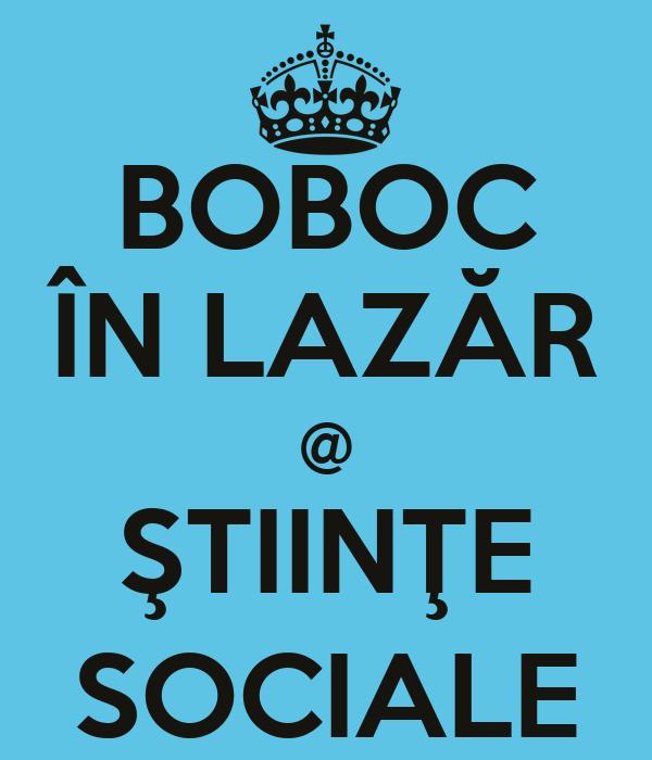 BOBOC ÎN LAZĂR @ ŞTIINŢE SOCIALE