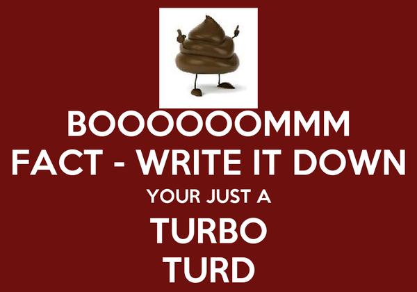 BOOOOOOMMM FACT - WRITE IT DOWN YOUR JUST A TURBO TURD