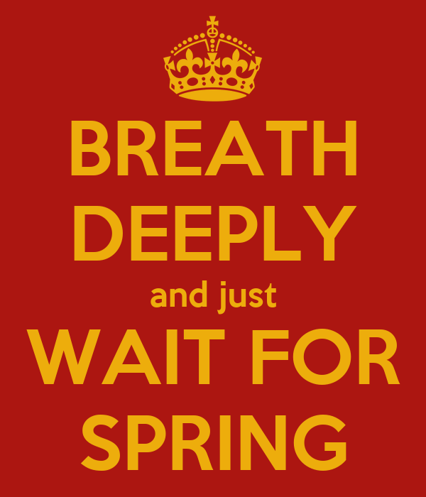 BREATH DEEPLY and just WAIT FOR SPRING