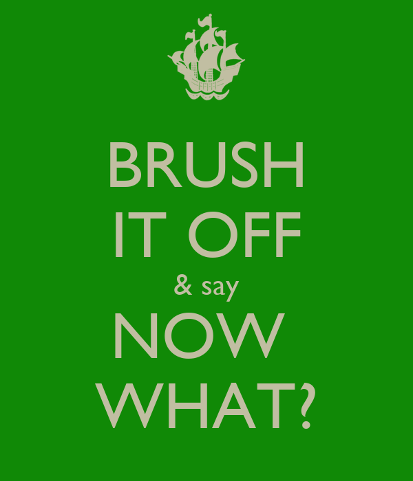 BRUSH IT OFF & say NOW  WHAT?