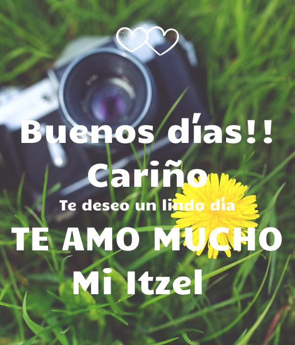 Buenos días!! Cariño Te deseo un lindo día TE AMO MUCHO Mi Itzel 💚
