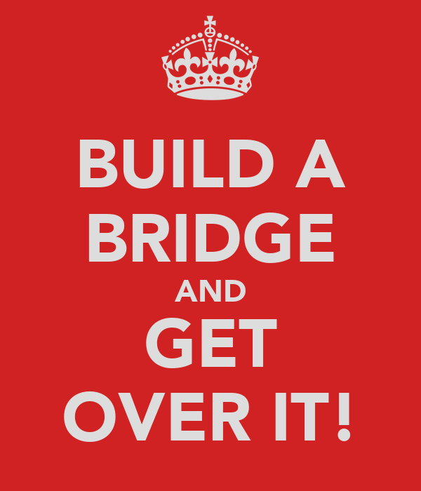 BUILD A BRIDGE AND GET OVER IT!